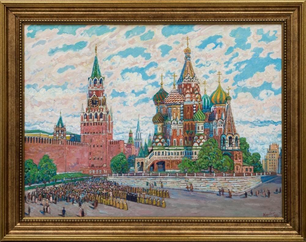 Картина «Крестный ход на Васильевском спуске»