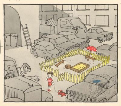 Карикатура «- Куда еще ты со своей машиной!»