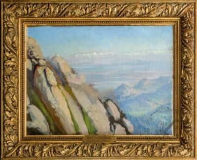 Старинная картина «В горах» 1910 годы