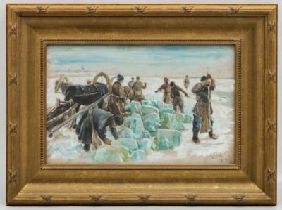 Старинная акварель «Заготовка льда на Неве» 1906 года