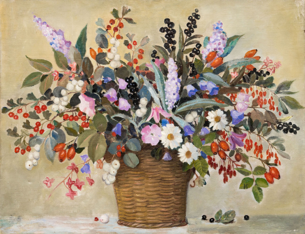 Картина «Полевые цветы в корзине»