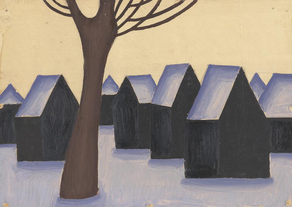 Картина  «Зимний пейзаж с деревом»