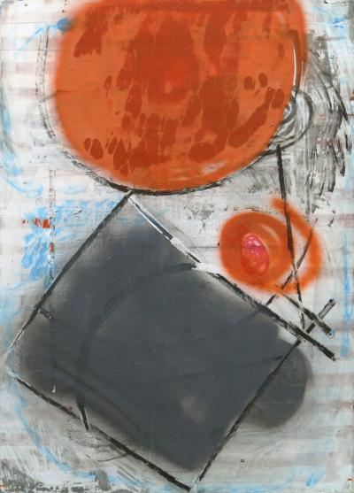 Картина «Композиция с оранжевым и серым»