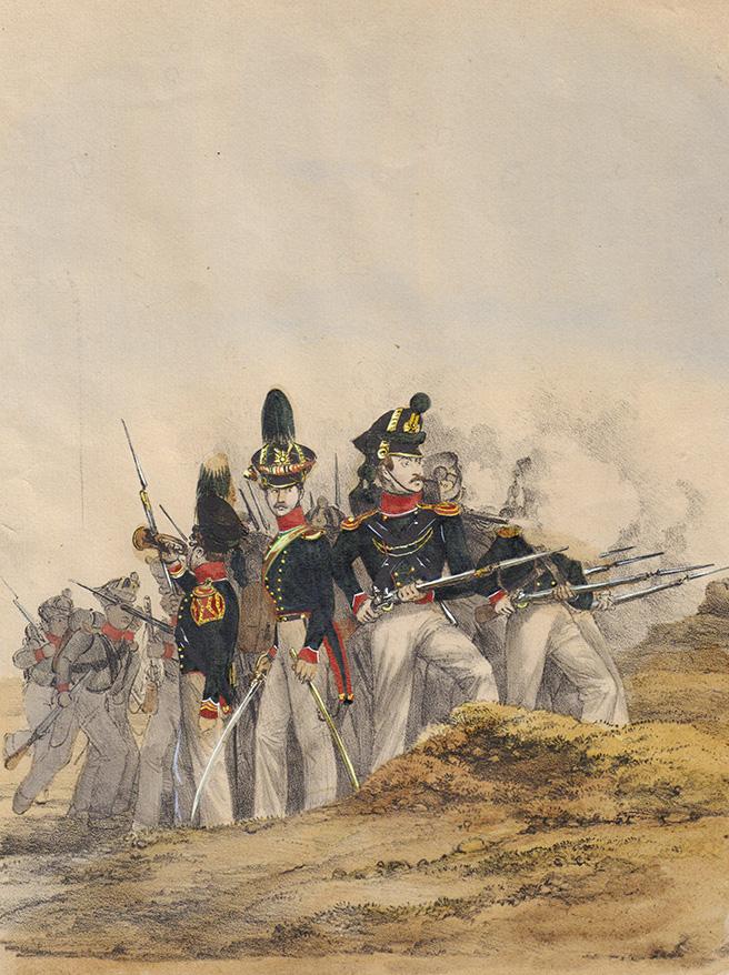 Литография «Германские войска. Герцогство Гольштейн. Военная форма Лауэнбургского егерского полка»