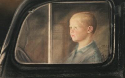 Пастель «Портрет мальчика за стеклом автомобиля»