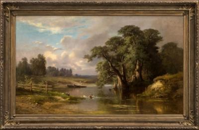 Картина «Деревья у реки»