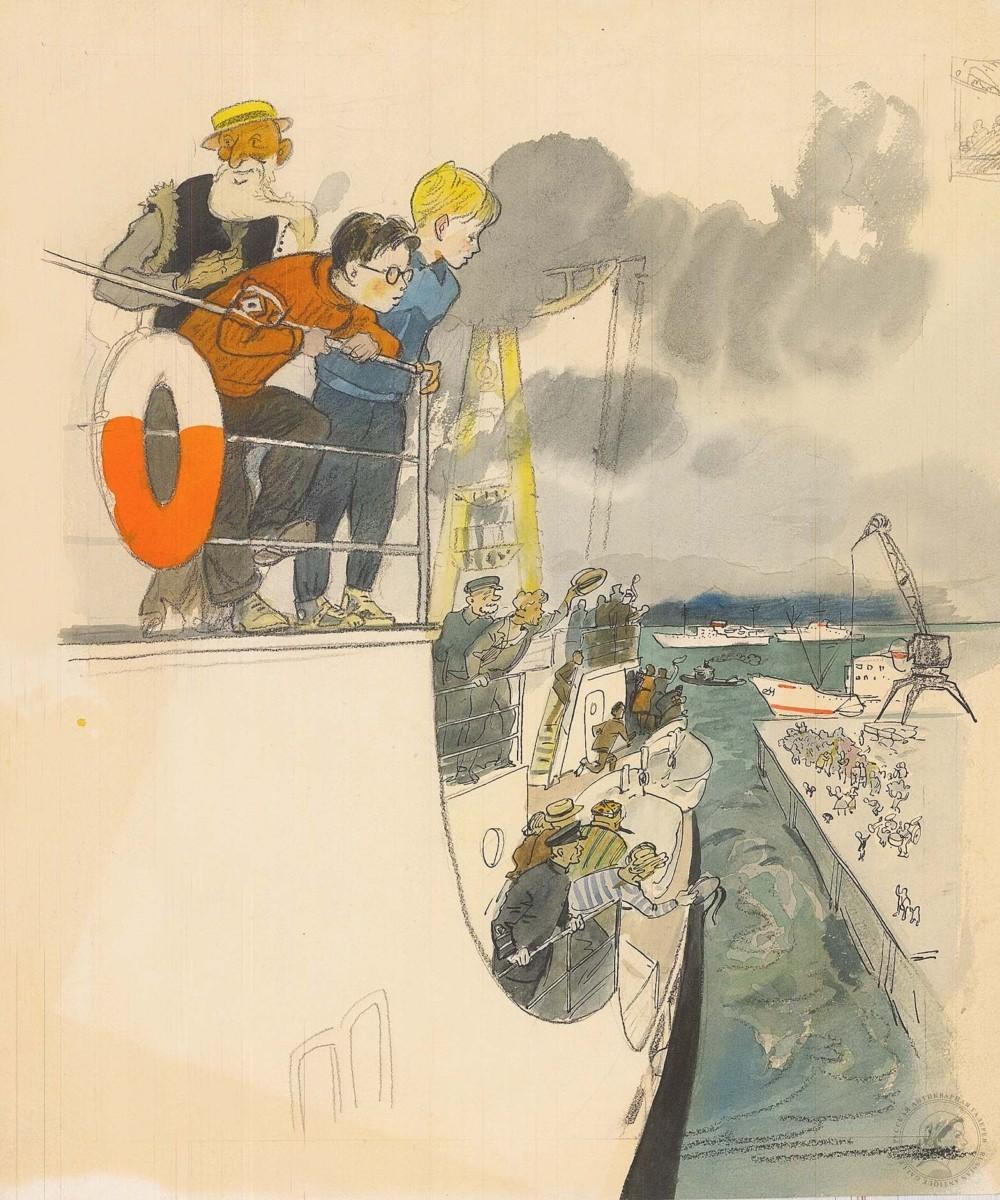 Рисунок «Старик Хоттабыч на корабле»