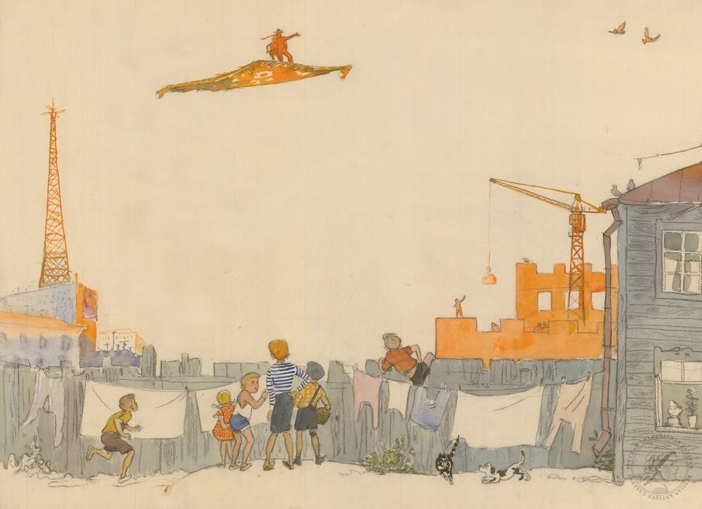 Рисунок «Старик Хоттабыч на ковре-самолёте»
