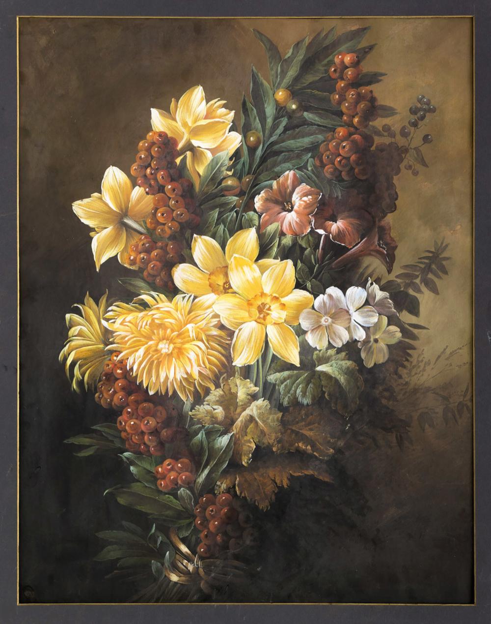 Гуашь «Цветочный натюрморт в стиле бидермейер»