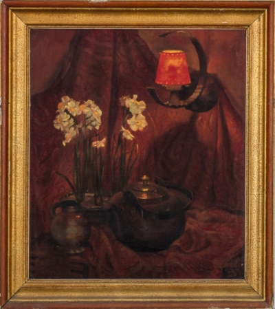 Натюрморт под красной лампой