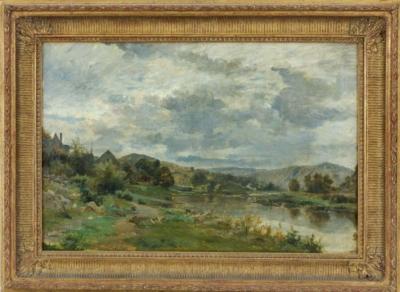 картина пейзаж с рекой на окраине деревни