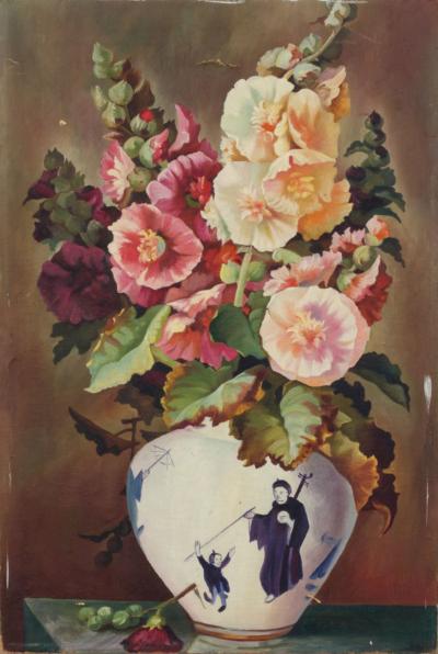 Цветы в китайской вазе