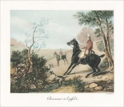 Цветная гравюра На охоте