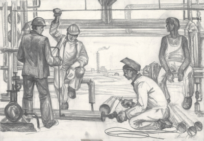 Рисунок «На строительстве комбината»