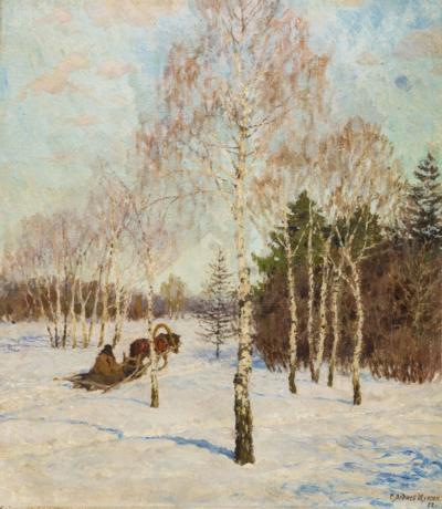 На зимней дороге художник Леднев-Щукин