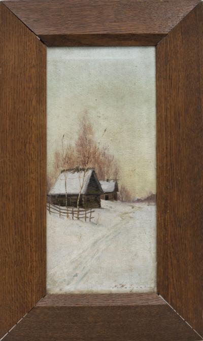 картина избушка зимой