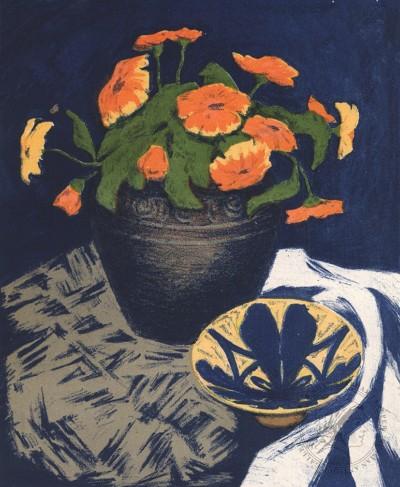 Натюрморт с цветами в горшке