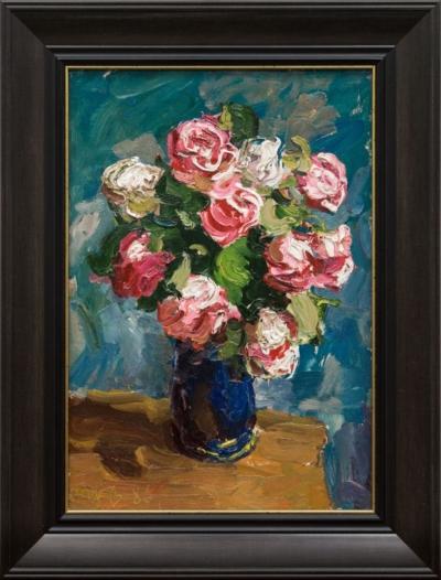 Картина «Розы в вазе на синем фоне»