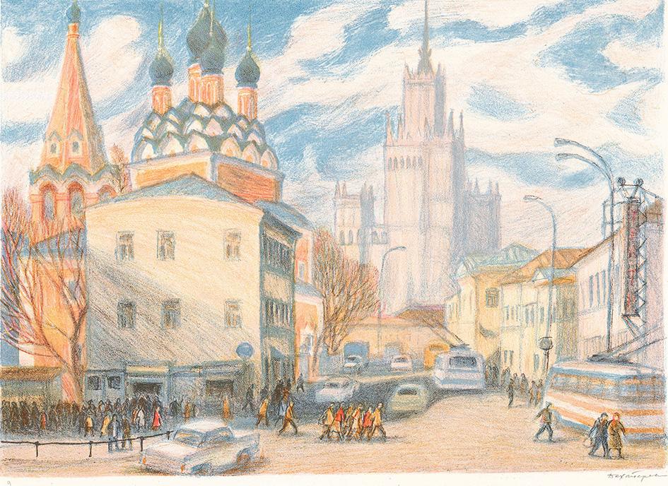 Автолитография «Нижняя Радищевская улица» из серии «Старая Москва»