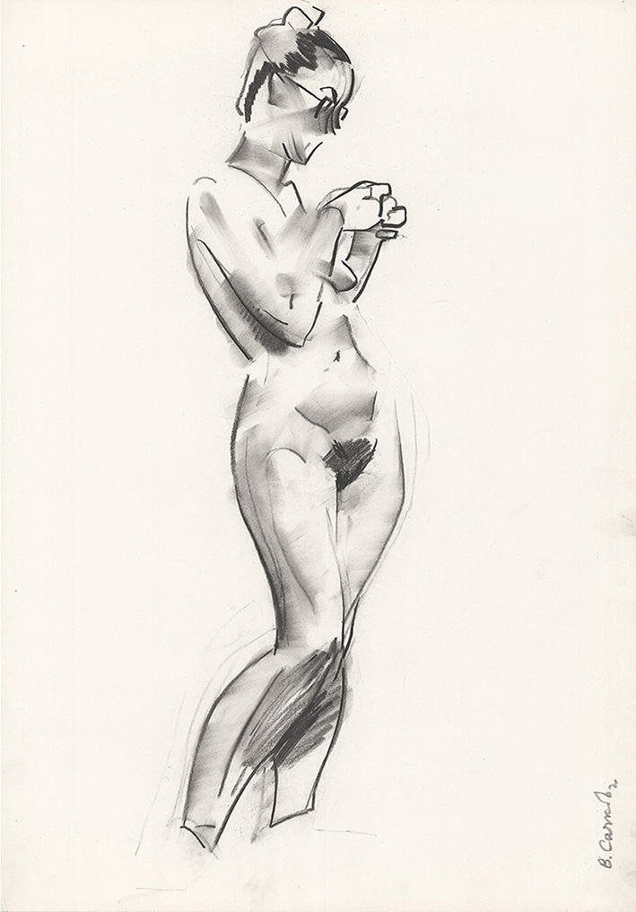 Рисунок «Обнаженная в очках» из серии «Обнаженные модели»