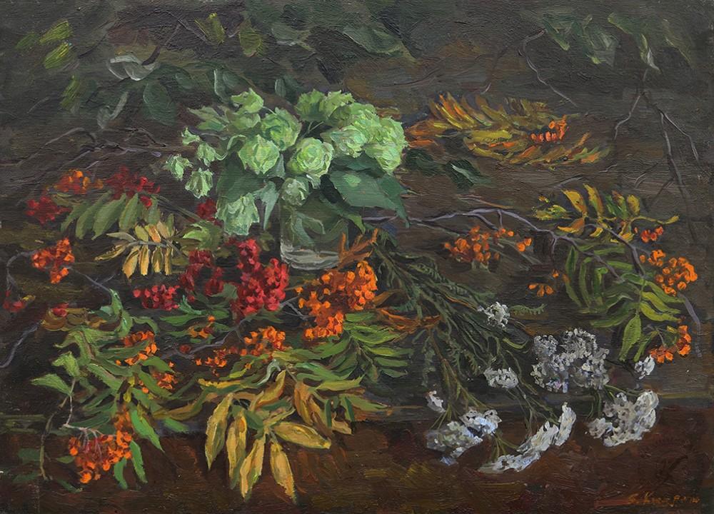 Картина «Осенний натюрморт с рябиной»