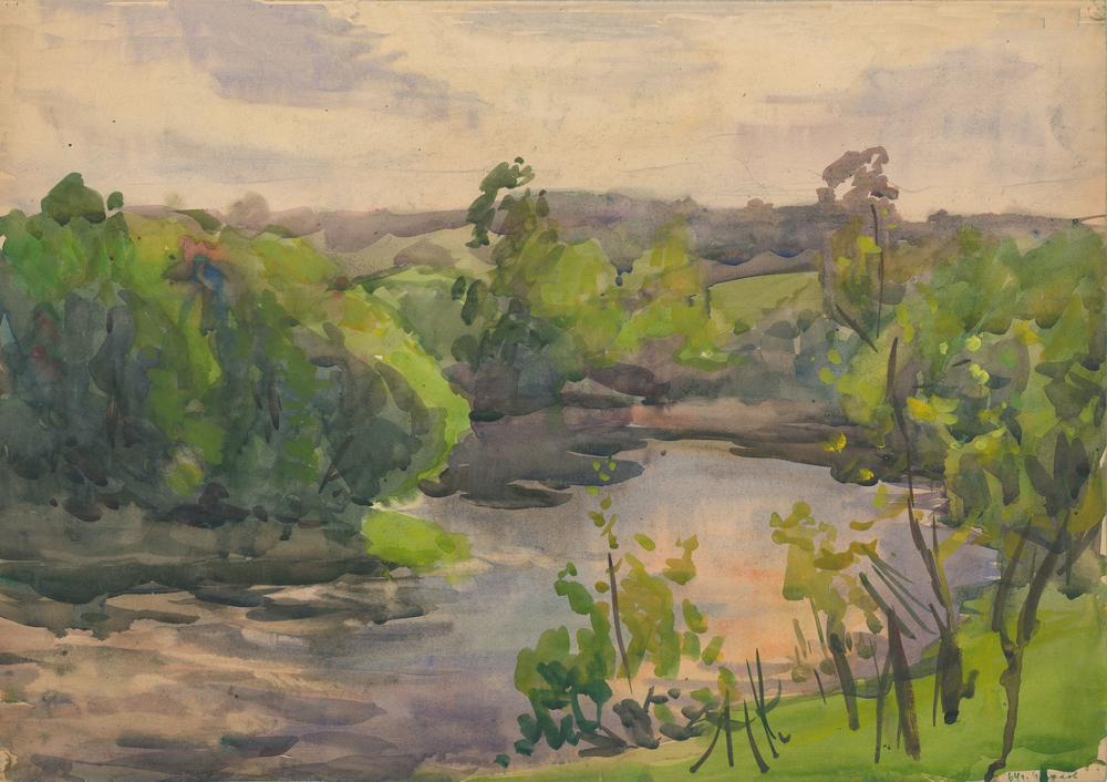 Акварель «Пасмурный день на берегу реки»