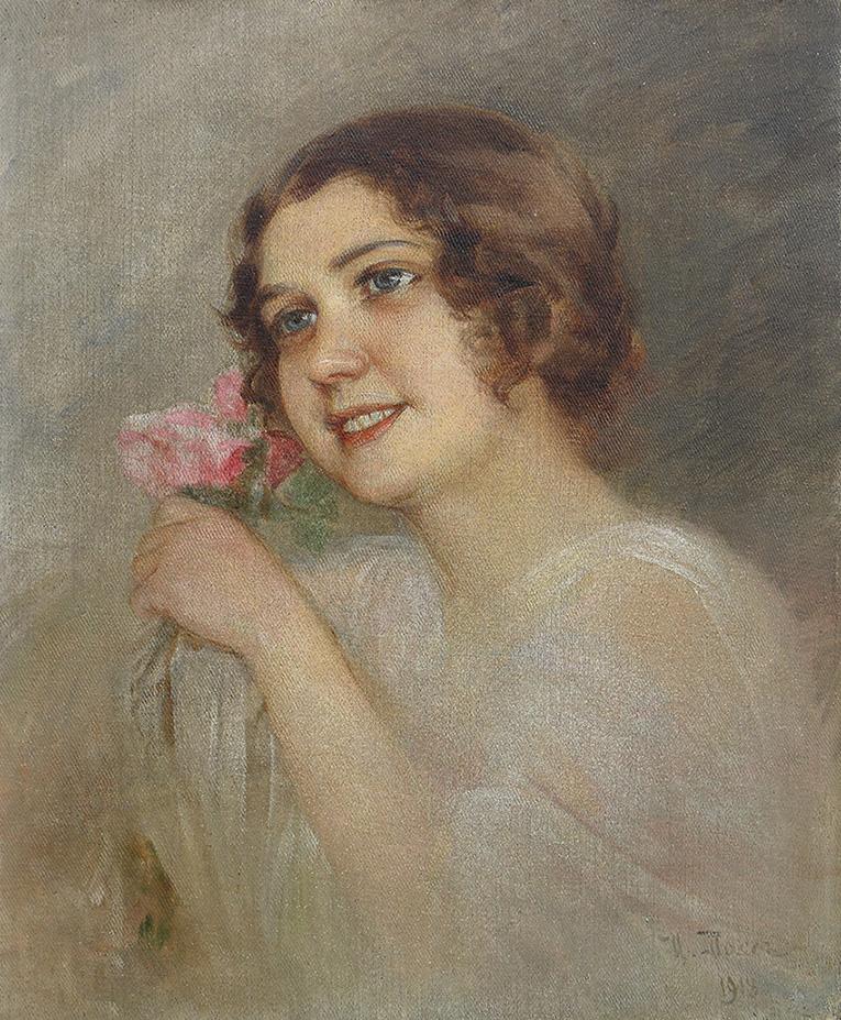 Картина «Девушка с букетом»