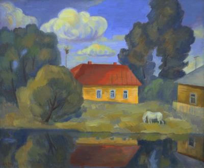 Пейзаж с белой лошадью