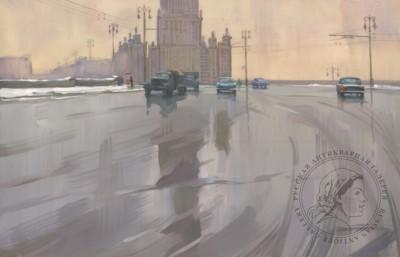 Гуашь «Первый снег. Новоарбатский мост»