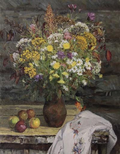 Картина «Натюрморт с букетом полевых цветов и яблоками»