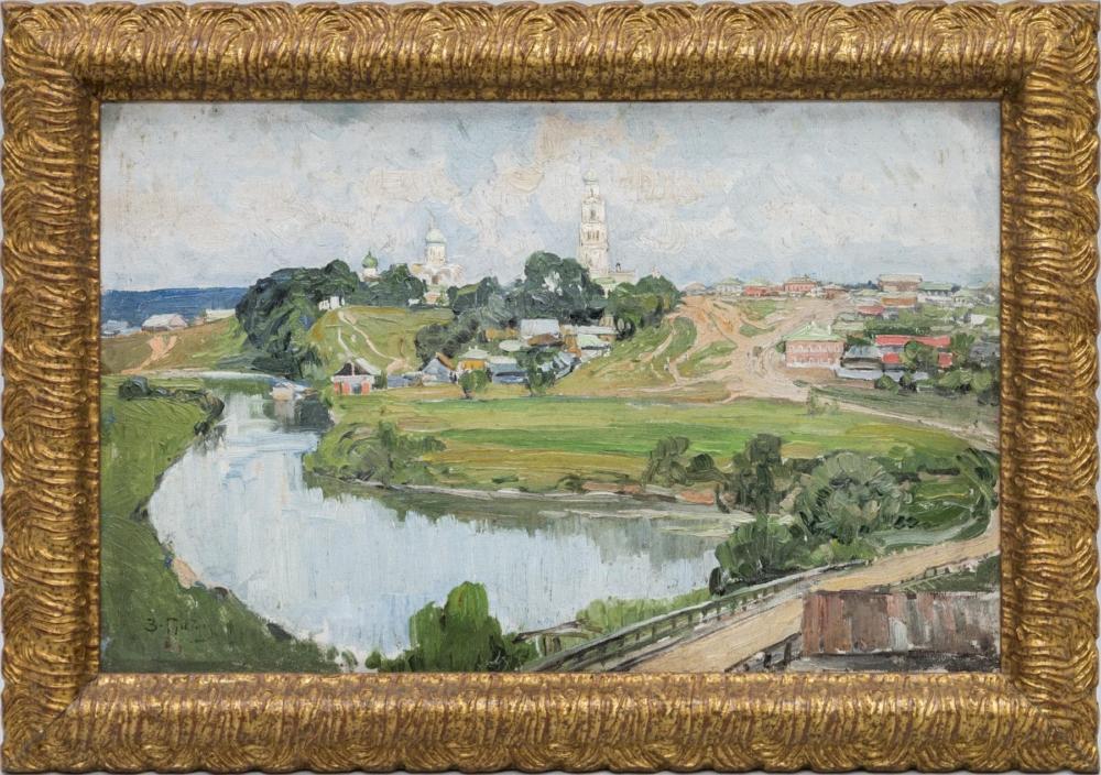 Картина старинная «Вид на Троице-Сергиеву Лавру» 1928 год