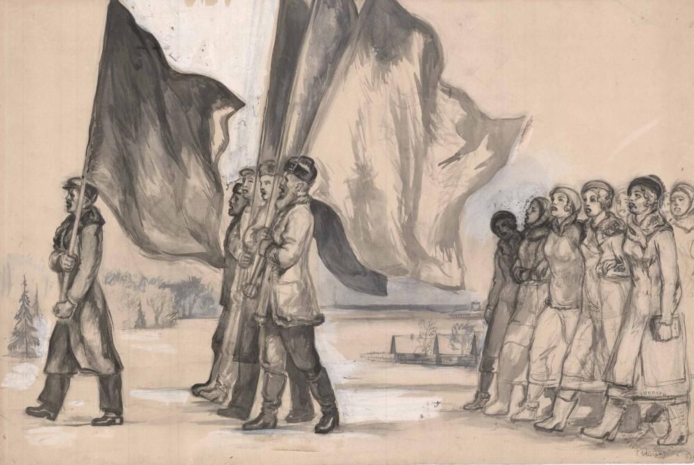 Рисунок «На демонстрацию»
