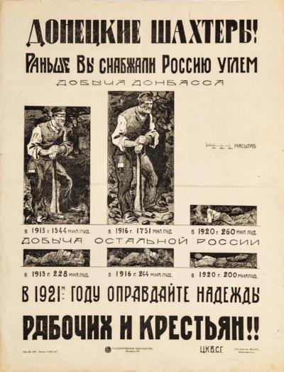 Плакат «Донецкие шахтеры! Раньше вы снабжали Россию углем. В 1921-м году оправдайте надежды рабочих и крестьян!!»