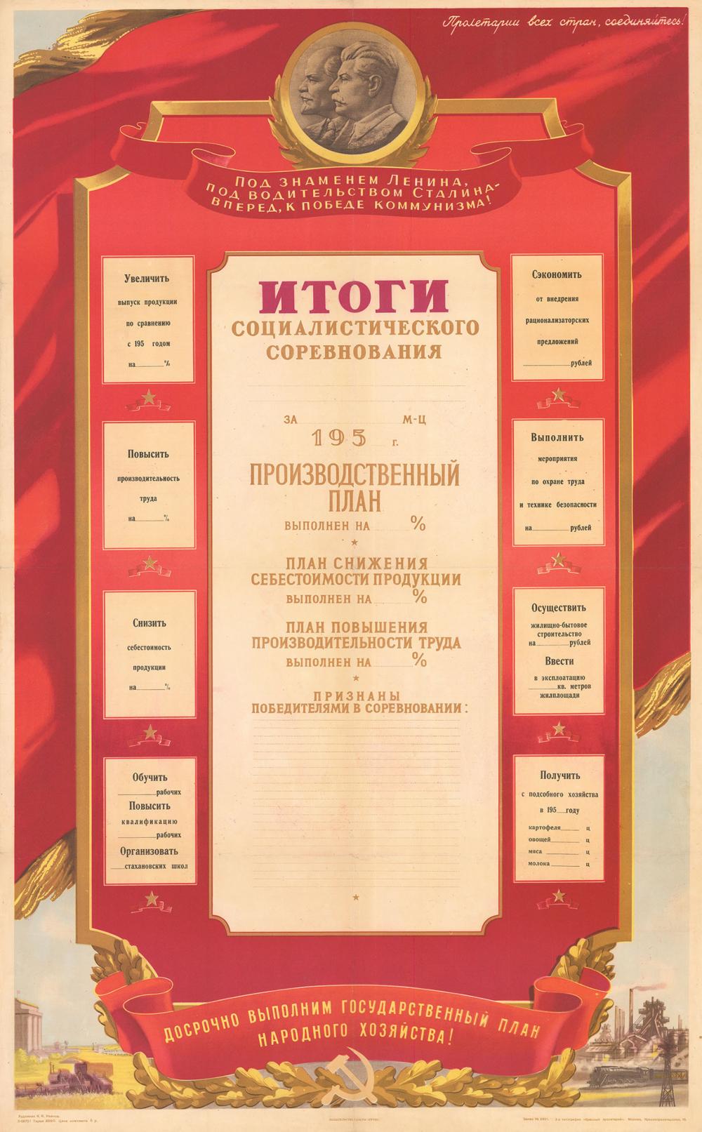 Плакат «Итоги социалистического соревнования»