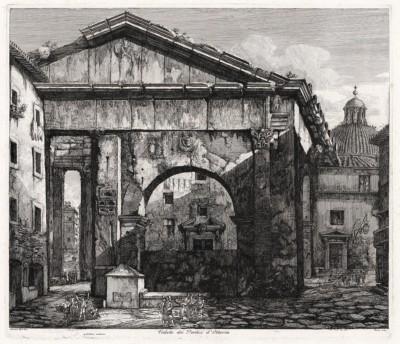 Гравюра «Портик Октавии» из серии «Римские древности — виды античного Рима» (1819 — 1823 гг.)