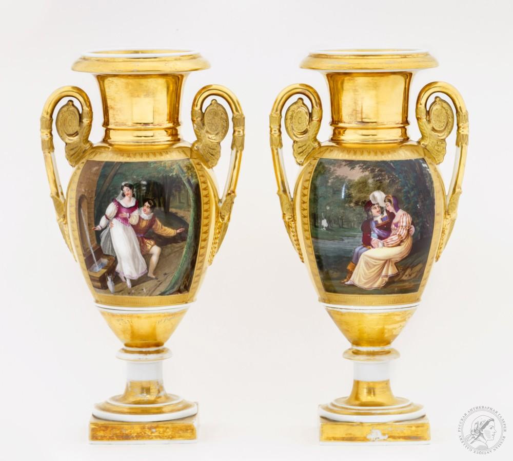 Парные вазы в стиле ампир