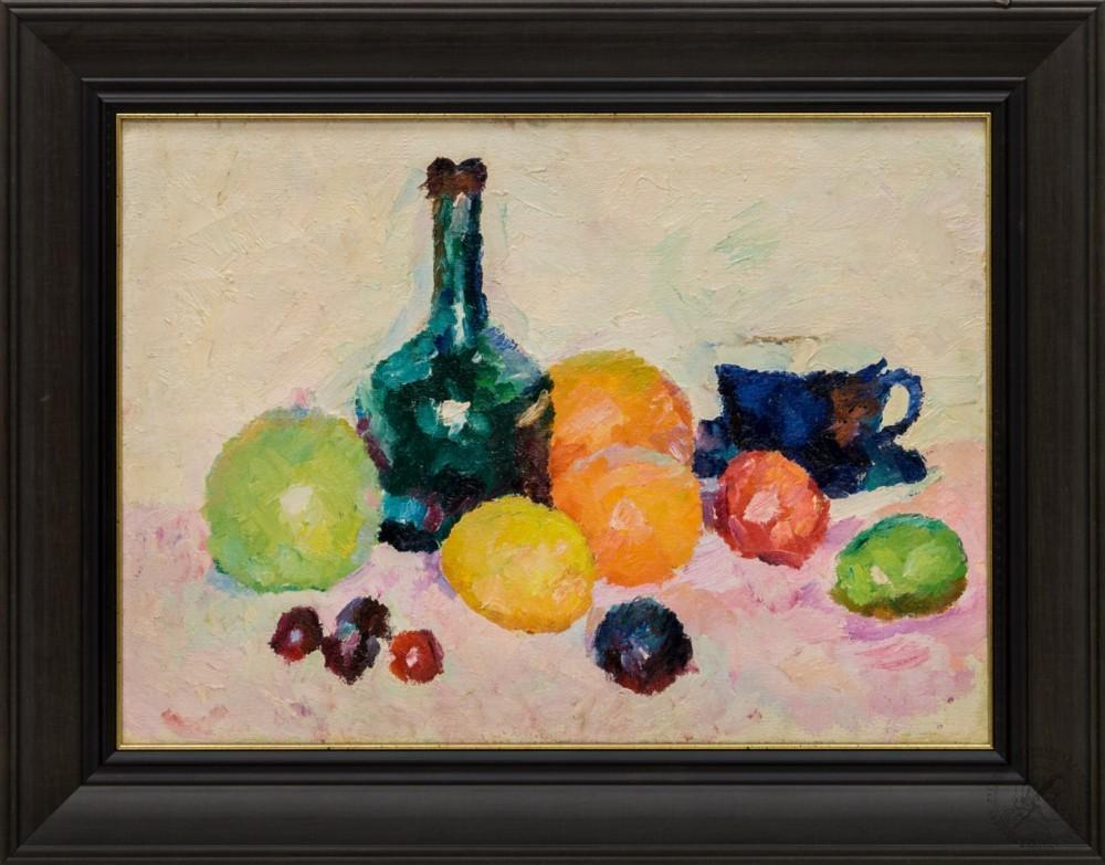 Картина «Натюрморт с фруктами и бутылкой вина»