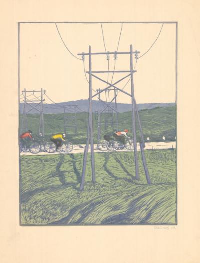 Линогравюра «Велосипедисты»