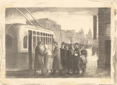 Литография «На трамвайной остановке»