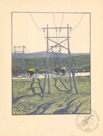 Литография «Велогонка»
