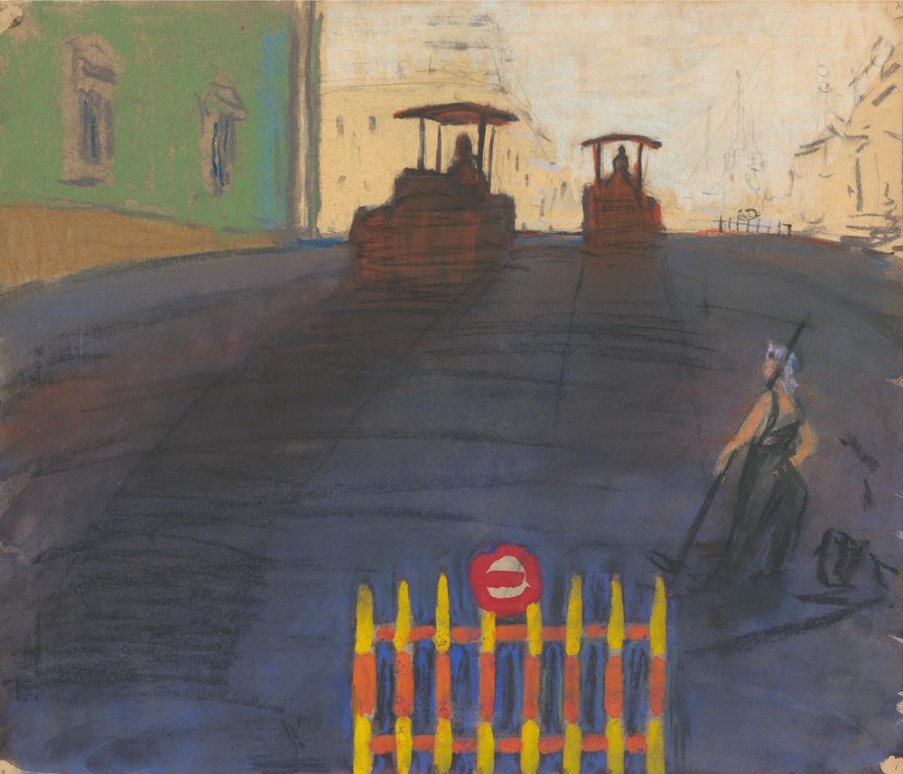 Пастель «Утро в Ленинграде. Асфальтоукладчики»