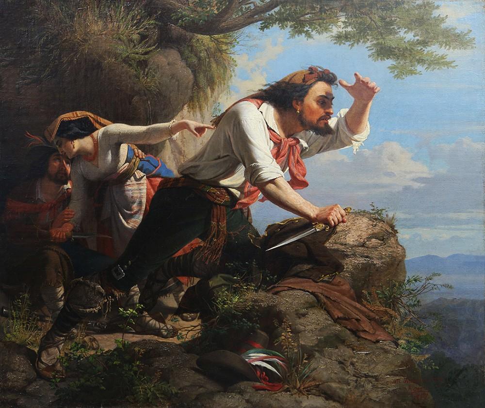 Антикварная картина «Разбойники»