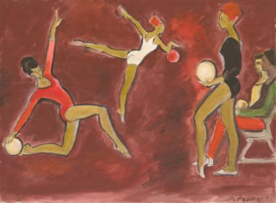 Акварель «Гимнастки. Упражнения с мячом»
