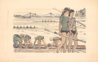 Гребцы на стрелке у Крымского моста
