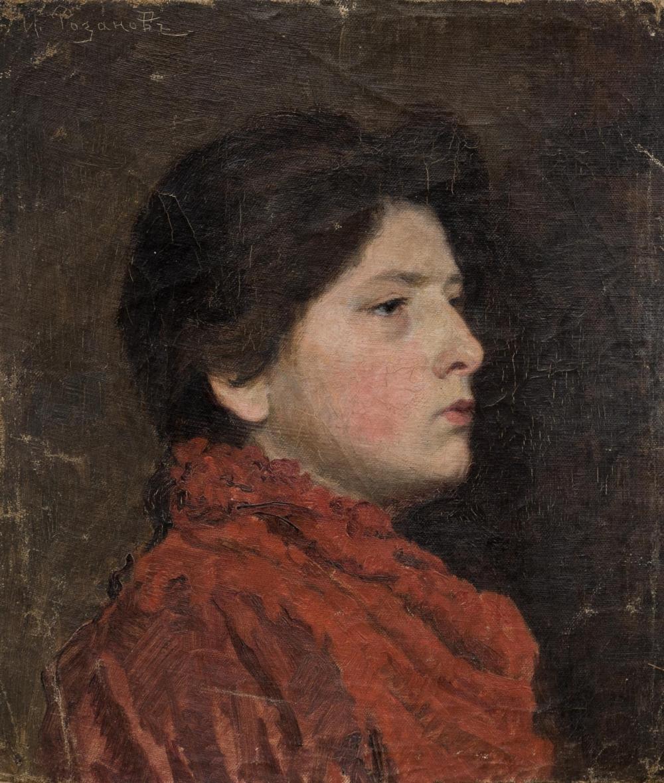 Картина «Портрет девушки в красном платье»