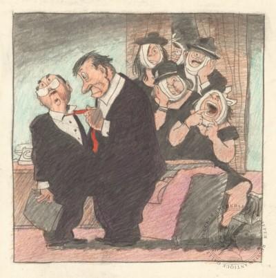 Вариант карикатуры «Это ты слух пустил, что я зубы заговариваю?» и номер журнала «Крокодил» ( №18 за 1967 год)