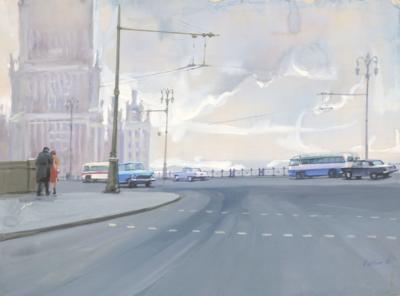 Гуашь «Пасмурная Москва»