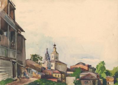 Рисунок «Городок на Волге»