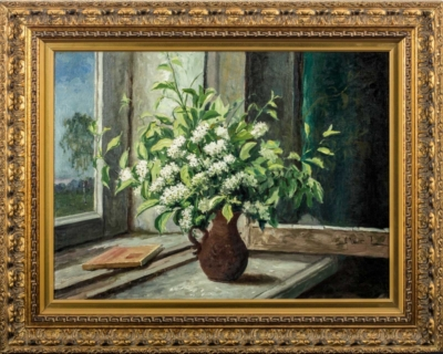 Старинная картина «Цветы на окне»