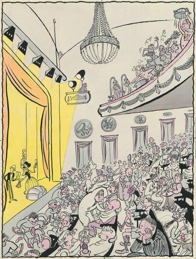Рисунок «Сочетание культуры с бытом». Карикатура для журнала «Крокодил»